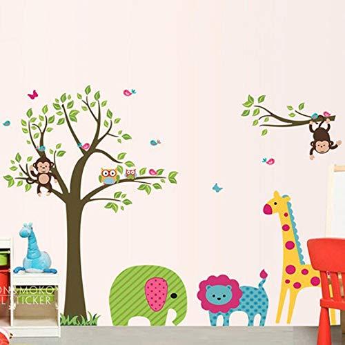 (Wall Stickers - Blossom Zoo Giraffe Elephant Monkey Owl Lion Wall Decal Stickers Wallpaper Mural Nursery Kids Children Room Home Decor 95x130cm - by PPL21-1 PCs)