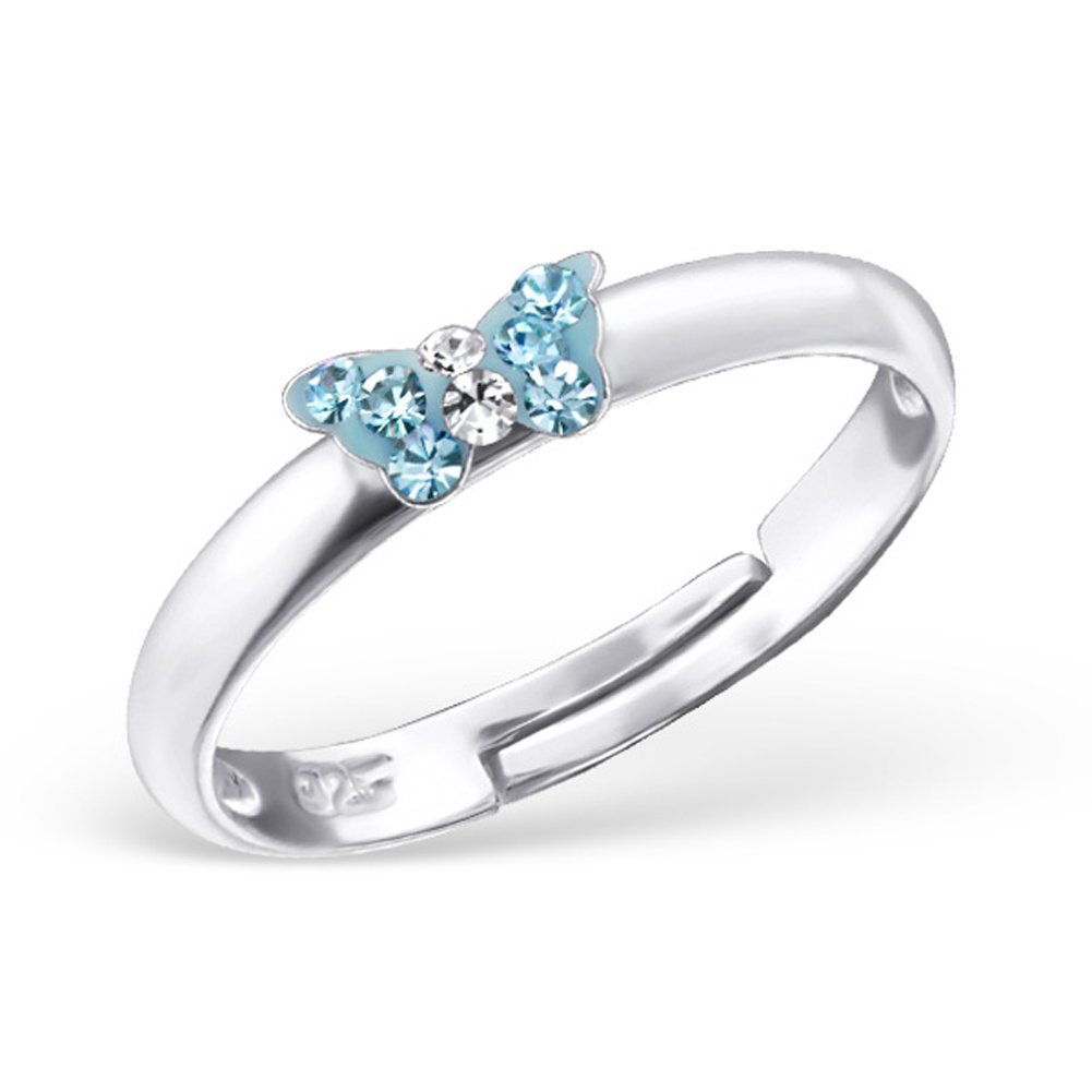 Tiny Butterfly Ring Aquamarine Blue Pink Crystals Girls Size Adjustable 3-4 Sterling Silver 925 (23475 Aquamarine)