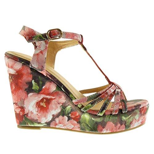 Angkorly - Chaussure Mode Sandale Mule plateforme salomés femme multi-bride fleurs lanière Talon compensé plateforme 11.5 CM - Rouge