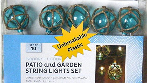 TopNotch Outlet Nautical Blue Buoy Float Patio and Garden String Light Set of 10 - Unbreakable Vintage Glass Style Lights - Patio String Lights