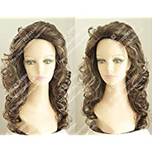 Golden brown back streaked custom stuffy Large fluffy messy long hair wig noble spirit of European and American fashion