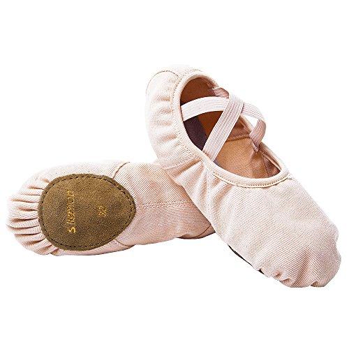 (s.lemon Stretch Canvas Pink Dance Ballet Shoes Ballet Slippers Flats Pumps for Girls Toddlers Kids (28 EU))