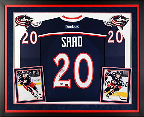 Reebok Jersey Autographed Blue Authentic (Brandon Saad Columbus Blue Jackets Deluxe Framed Autographed Blue Reebok Premier Jersey - Fanatics Authentic Certified)
