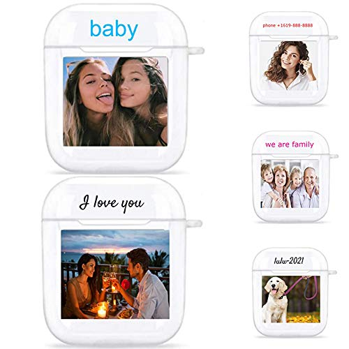 ZTZ Custom Airpod Case with Your Photo Name Text, Personalized Gift Shock Absorption Soft Clear TPU Cover DIY Photo for Airpods 1st and 2nd Generation