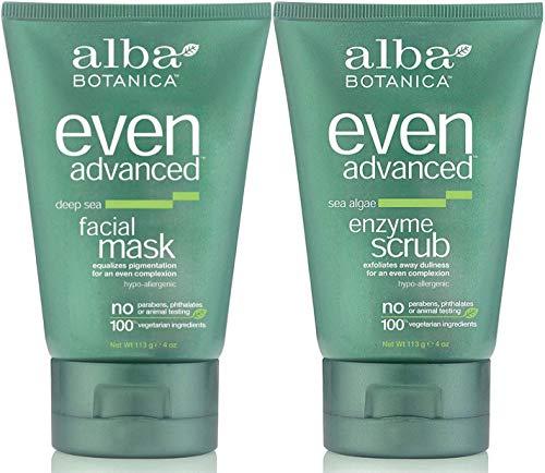 Alba Facial Mask - Alba Botanica Even Advanced Bundle, Deep Sea Facial Mask + Sea Algae Enzyme Scrub, 4 Ounce Each
