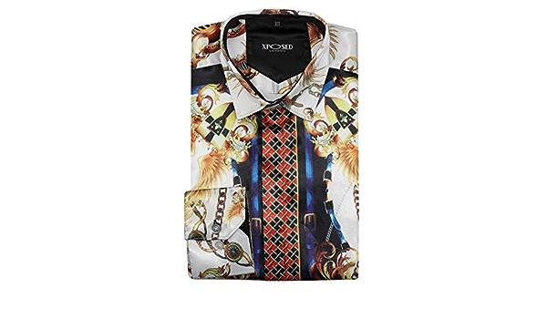 Camisa para hombre estilo retro con impresión barroca dorada y blanca con tacto de satén sedoso.