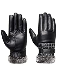 Winter Gloves Men, Touch Screen Warm Acdyion Leather Gloves