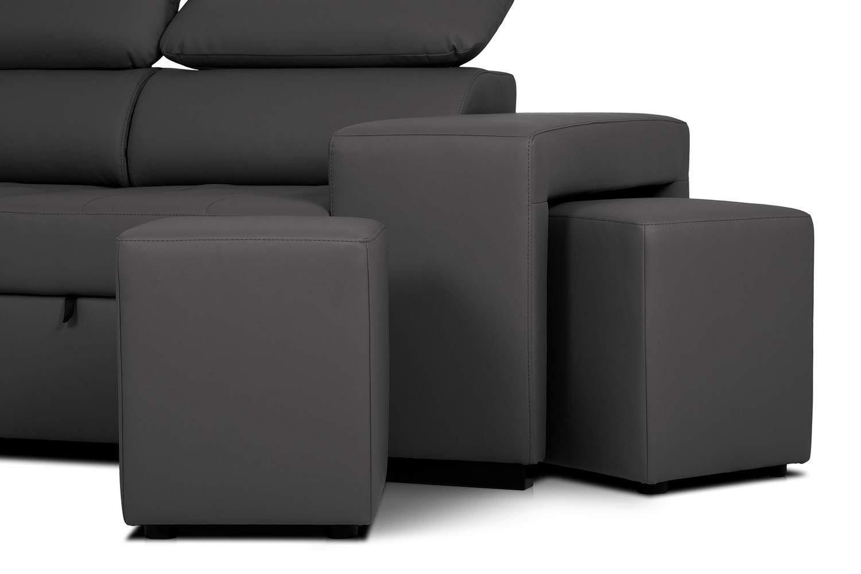 Confort24 John Sofá Cama 3 Plazas Chaise Longue Derecha o Izquierda Esquinero Reposacabezas Ajustable 2 Puffs PU Negro