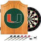 Trademark Gameroom University of Miami Wood Dart Cabinet Set - Wordmark