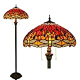 18 inch Tiffany Style Floor Lamps Stained Glass Red Dragonfly Floor Uplighter Livingroom Bedroom Studyroom Decoration Floor Lights,Zipper Standing Light