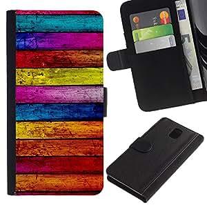 [Neutron-Star] Modelo colorido cuero de la carpeta del tirón del caso cubierta piel Holster Funda protecció Para Samsung Galaxy Note 3 III [Textura de madera Líneas Horizontal Colorido]