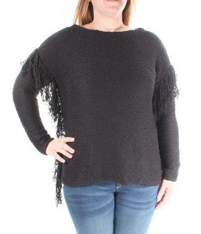 RALPH LAUREN Womens New Black Jewel Neck Fringed Sweater Petites