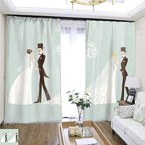 Curtain Gauze Cute Retro Wedding Set Cartoon Couple Bride and Groom eps W72 x L81 Shade Curtain Set Highprecision Curtains for bedrooms Living Rooms Kitchens etc.