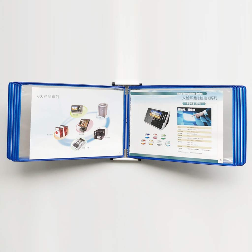 VIP Customer Information A4 File Flipping Clamp Magnetic Wall-Mounted Loose-Leaf Transparent Page Displays 10 Pages (PVC + Metal) 33 23 10CM (Color : P)