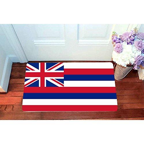 US Flag of Hawaii Entrance Door Mat Square Doormat Toilet Floor Mats Anti-skid Bath Rugs 15.7'' X 23.5''-Inside Outside-3D Printed Carpet by SeMats