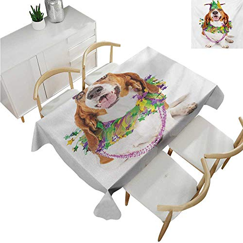 Mardi Gras,Tablecovers Rectangular,Happy Smiling Basset Hound Dog Wearing a Jester Hat Neck Garland Bead Necklace,Table Cloth Cover Wedding Event Party 60