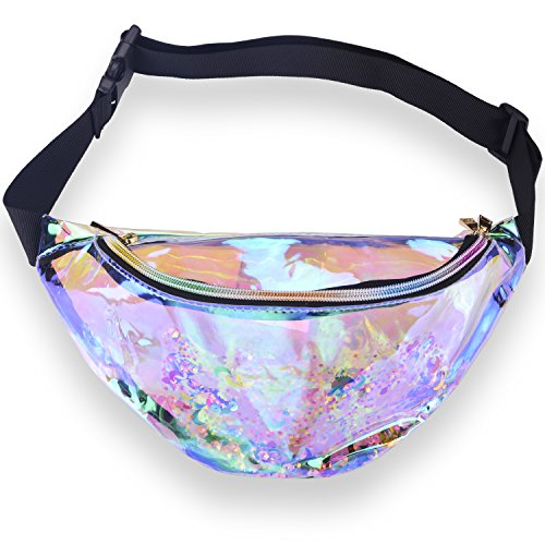 Miracu Neon Holographic Fanny Pack, 80s Cute Fashion Fanny Packs for Women Girls, Shiny Waist Pack Bum Bag for Rave, Festival, Party, Travel (Transparent with Sequin) by Miracu