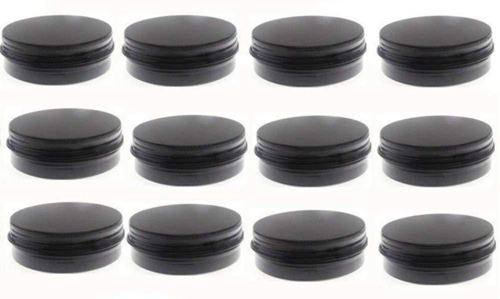 JKLcom 2Oz Aluminum Metal Tin Black Aluminum Tins Round Tin Cans Containers with Screw Top Lid (Black, 12)