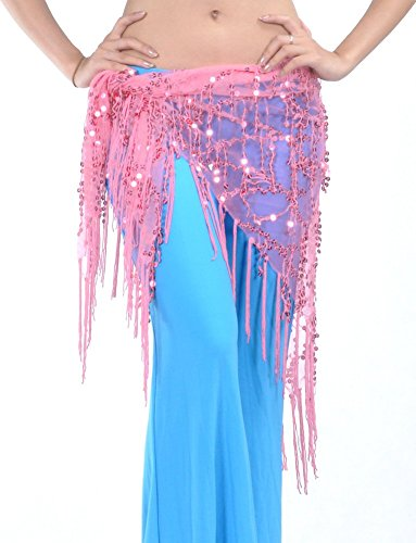 DQdq Women's Sequined Tassel Belly Dance Hip Wrap Deep Pink (Pink Indian Sari Adult Costume)