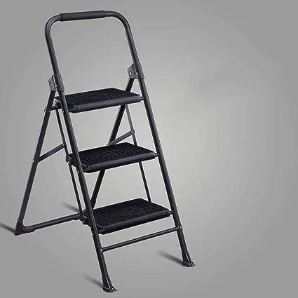 N/A Escalera Alemana Casa Plegable Escalera de Dos O Tres Peldaños Escalera de Cuatro Escalones Escalera en Espiga Escalera Interior Escalera Pequeña Silla Escalera Ascendente,Negro,Escalera de tre: Amazon.es: Deportes y aire libre