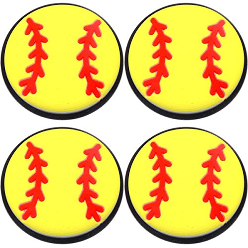 Four (4) of Softball Rubber Charms