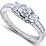 1/2ctw Three Stone Round Brilliant Diamond Engagement Ring in 14K White Gold - Size 5