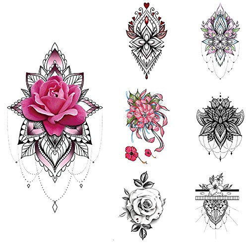 "glaryyears 15 Sheets Henna Flower Temporary Tattoos for Women, Mandala Rose Fake Tattoo Stickers Waterproof on Wrist Arm Shoulder Underboob Body Art 4.7""x7.5"""