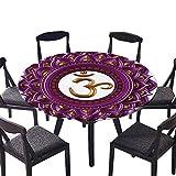 SATVSHOP Round Table-40 Round-for Birthday Party, Graduation Party,Chakra Vivid Digital Mandala Circle with Chakra Lettering Secret Hidden Powers Zen Image Purple.(Elastic Edge)