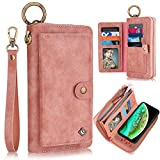 iPhone X Case, iPhone Xs Case Wallet, XRPow [2 in 1] [Magnetic Detachable] Zipper Wallet Folio Case [Wrist Strap] Slim Shock Back Cover with Credit Card Purse for iPhone X/XS 5.8' - Rose Gold
