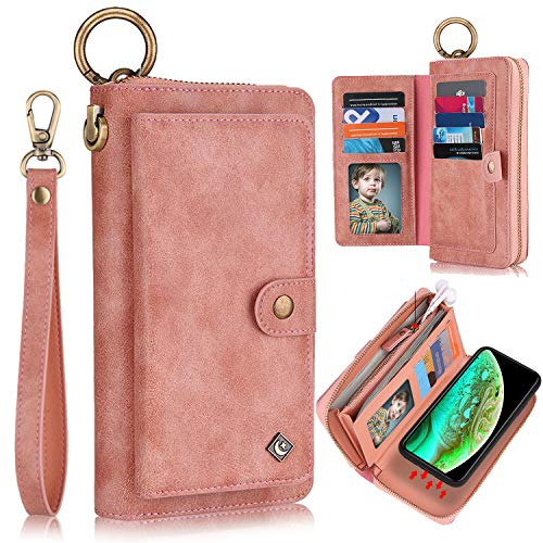 """XRPow iPhone XR Wallet Case, 2-in-1 Multi-Functional Magnetic Detachable Wallet Zipper Purse Clutch iPhone XR Slim Shock Cover Flip Credit Card Protective Case 6.1"""" with Wrist Strap - Rose Gold"""