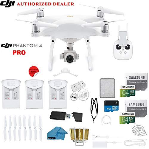 DJI Phantom 4 PRO Quadcopter Drone with 1-inch 20MP 4K Camera KIT + 3 Total DJI Batteries + 2 64GB...