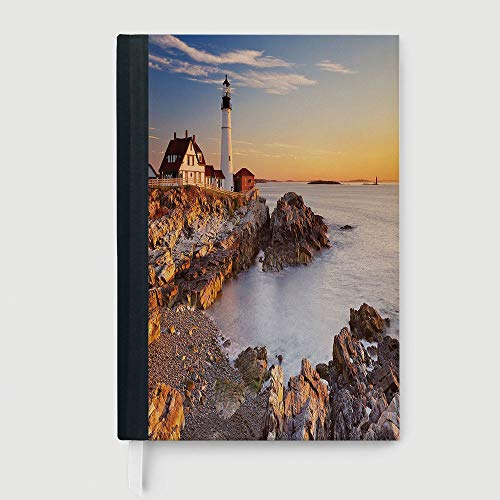 Portland Business Journal - Classic Retro Hardcover Business Student Notebook,United States,Cape Elizabeth Maine River Portland Lighthouse Sunrise USA Coast Scenery,96 Ruled Sheets,A5/8.24x5.73 in
