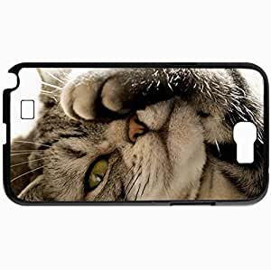 Personalized Protective Hardshell Back Hardcover For Samsung Note 2, Cat Design Paw Design In Black Case Color