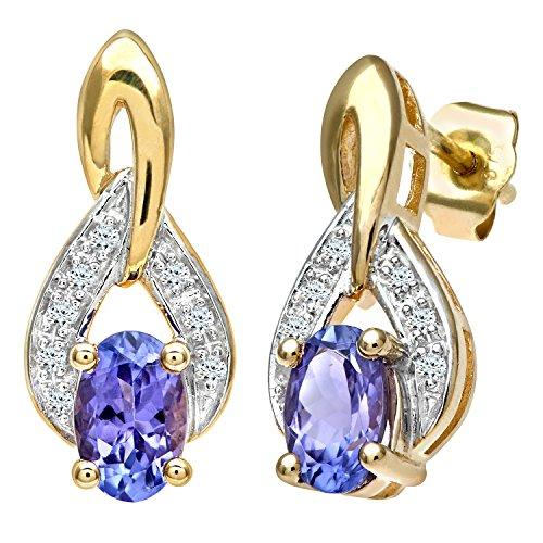 Boucles-doreilles-Femme-PE01857YTanz-Pendientes-de-mujer-de-oro-amarillo-9k-con-18-tanzanitas-y-diamantes