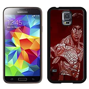Fashionable And Unique Designed Cover Case For Samsung Galaxy S5 I9600 G900a G900v G900p G900t G900w With Bruce Lee Typographic_Black Phone Case