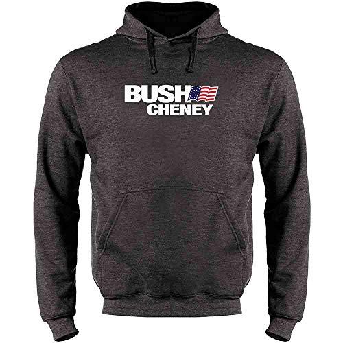 Bush Cheney Sticker - Pop Threads George W Bush Dick Cheney President Campaign Retro Heather Charcoal Gray L Mens Fleece Hoodie Sweatshirt
