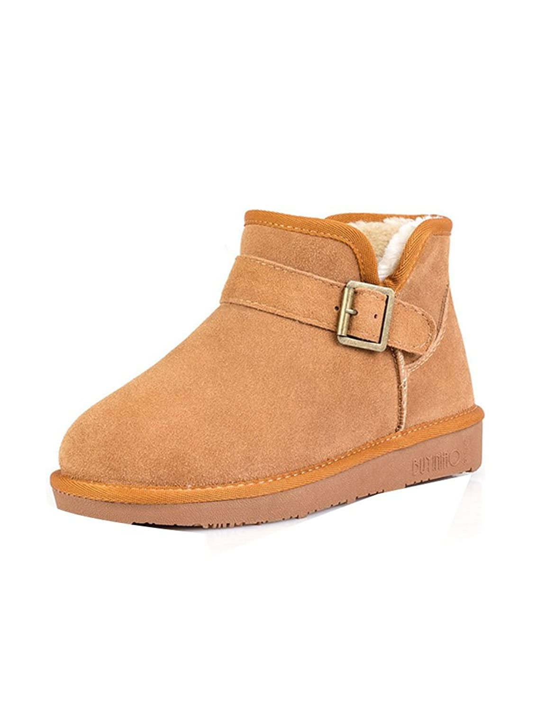 Ashlen Men's Classic Fur Ankle Boot Metal Buckle Decor Winter Warm Short Boots