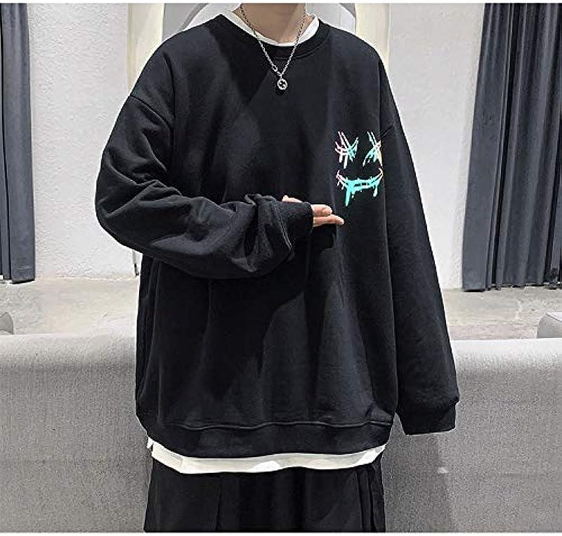 Męski sweter jesienny męski z okrągłym dekoltem, luźny Smiley odblaskowy nadruk, długi rękaw, top, duży format: Odzież