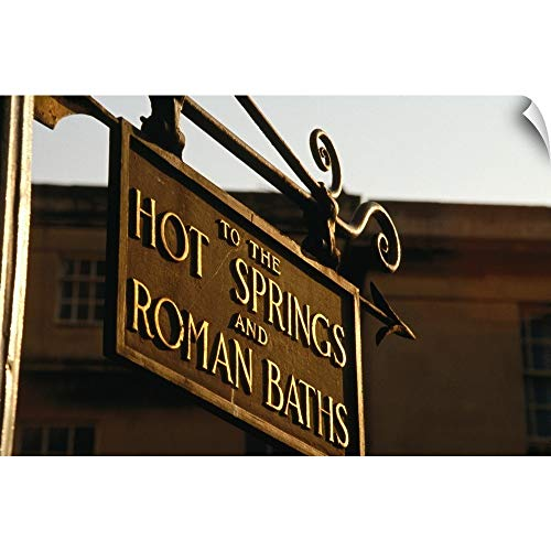 Amazon.com: CANVAS ON DEMAND Wall Peel Wall Art Print Entitled Sign Pointing to Hot Springs and Roman Baths, Somerset, England 18