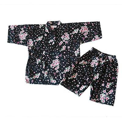 TWO L Child's Japan Kimono Jinbei Cherry Blossom Pattern