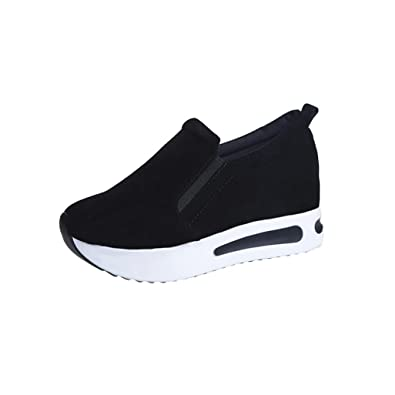 e3cc61f18813 VEMOW Women s 2018 Spring Summer New UK Shoes Girls Ladies PU Black Grey  Green High Heel Flat with Travel Walking Running Sport School Slip-On  Thick-Soled ...