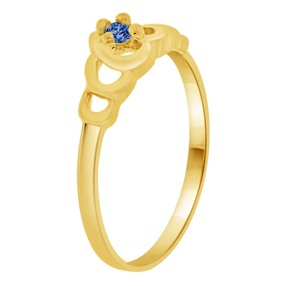 Small Size Solitaire Heart Style Ring Created CZ Children /& Adult Pinky 14k Yellow Gold