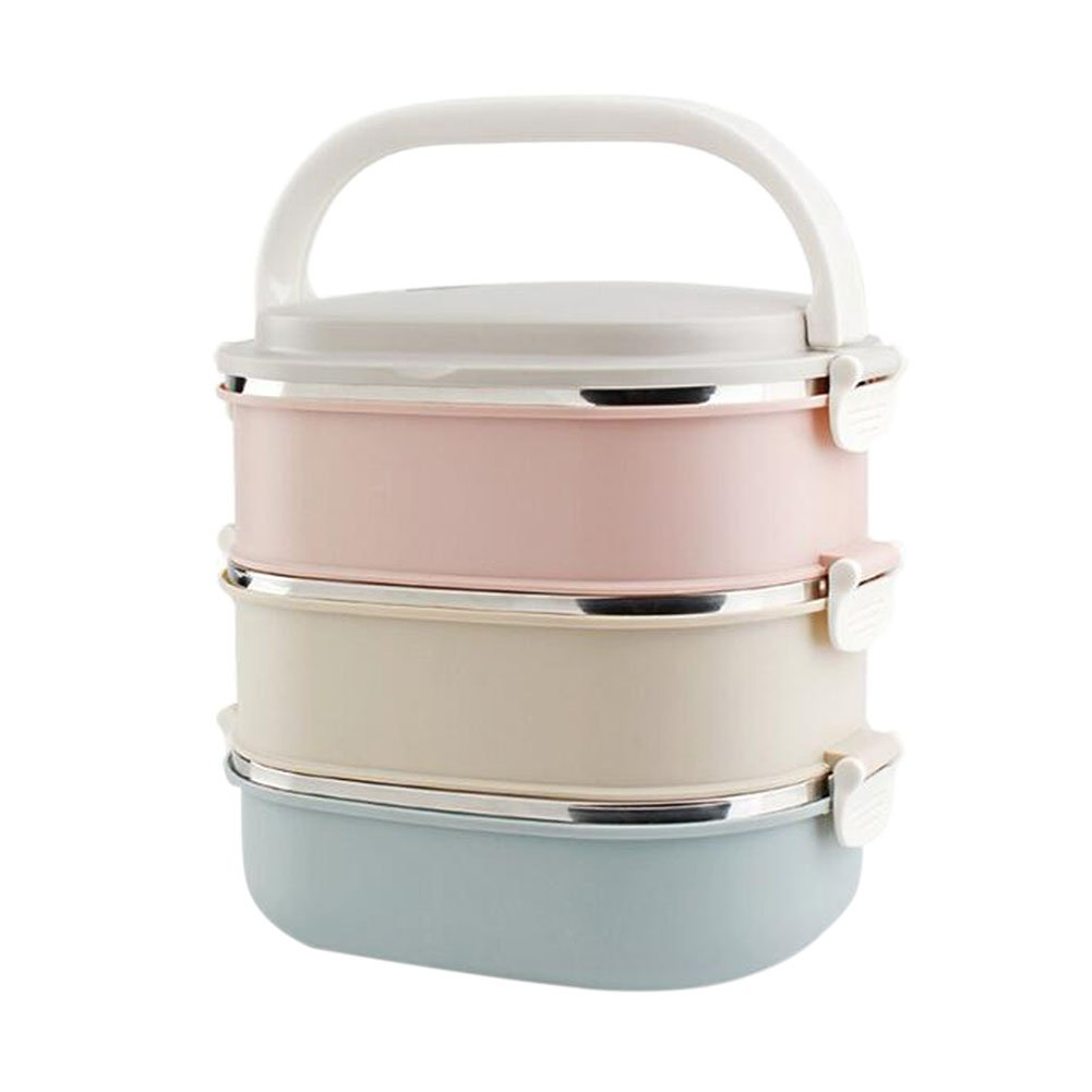 Hzjundasi 3 Stackable Square Stainless Steel Bento Box Insulation Barrel Kids Adults Food Storage Container Lunch Box with Carry Handle for Work Lunches