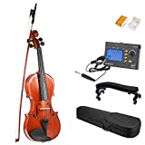 ammoon 3/4 Full Size Solid Wood Antique Violin Fiddle Gloss Finish Spruce Face Board with Hard Case Bow Rosin + Multifunctional 3-in-1 Digital Tuner Metronome Tone Generator + Violin Shoulder Rest