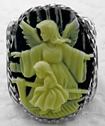 Child Cameo Ring - .925 Sterling Silver or 14k Gold gf Guardian Angel Girl Cameo Ring Black Art Jewelry HGJ