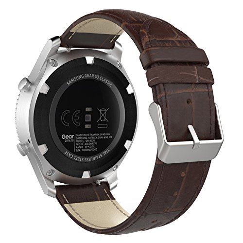MoKo Gear S3 Watch Band, Premium Soft Genuine Leather Crocodile Pattern Replacement Strap for Samsung Gear S3 Frontier / S3 Classic/Galaxy Watch 46mm / Moto 360 2nd Gen 46mm, Brown