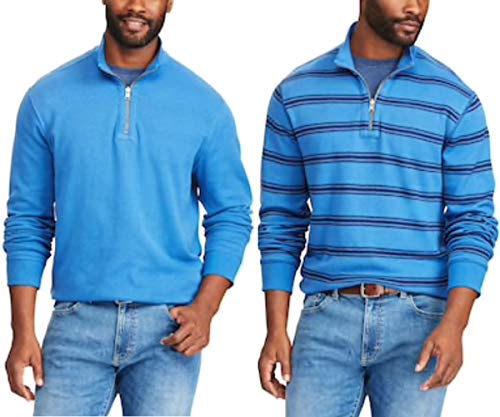 Mens Quarter Zip Striped Sweater - Chaps Men's Big & Tall Reversible Striped Quarter-Zip Sweater (5XB, Great Lake)