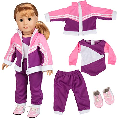 """Dress Along Dolly Gymnastics Doll Outfit for American Girl & 18"""" Dolls (4 Piece Set) - Sports Clothes Include Leotard, Warm-Up Pants & Jacket, Sneakers - Premium Apparel for Doll"""