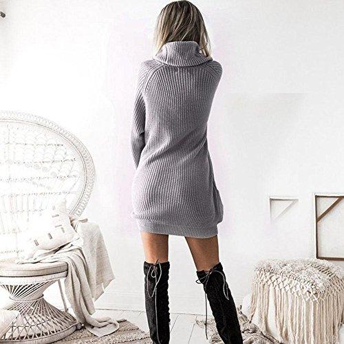 Robe De Tricot À Manches Longues Des Femmes Avec Des Poches Zhuotop Gris Pull-over