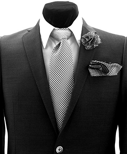 Gray & Black Polka Dot Necktie Tie, Round Pocket Square and Lapel Pin Box Set by Antonio Ricci